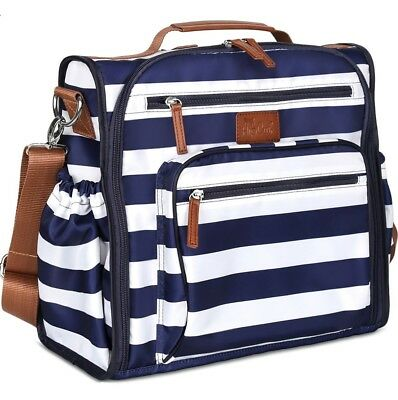 Diaper Bag Backpack Navy Blue - Convertible W/ Cute Designer Baby Changing Pad
