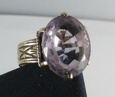 Antique Victorian 14K Solid Rose Gold Large Amethyst 6.7 grams size 7 1/2 Ring