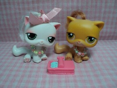 Discontinued Rare Authentic LPS Lot of Twin Cats W/Handmade Accessories