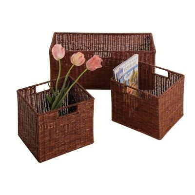 Winsome Wood Leo Set of 3 Wired Baskets, 1 Large and 2 Small WIN-92323