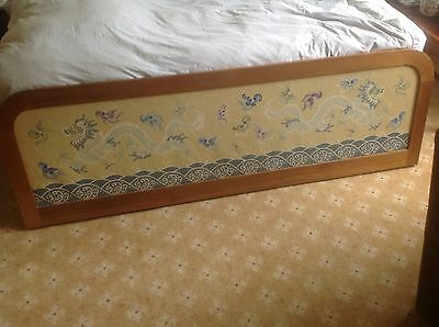 Stunning unusual large Chinese embroidery bed headboard teak surround