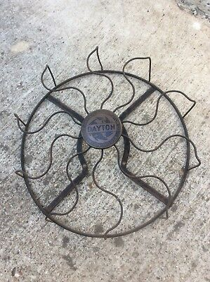 "Vintage ~ Antique 1920s STEEL Cage Guard Dayton BRASS BADGE for 12"" Fans OEM USA"