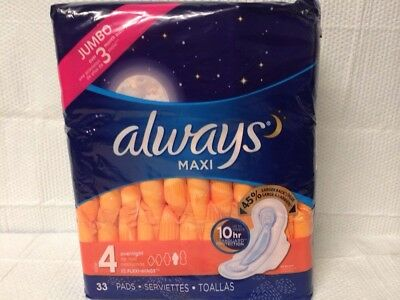 Always Maxi 33 Count Size 4 Overnight Maxi Pads W/ Flexi Wings Jumbo Pack