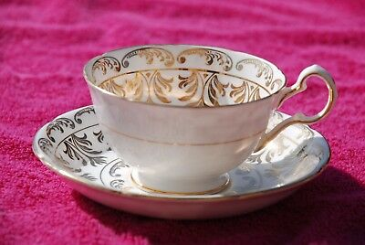 Royal Grafton Tea Cup And Saucer Bone China White With Gold/gilt Design