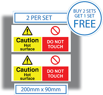 2 x Caution Hot Surface Do Not Touch Stickers Health & Safety Warning Signs