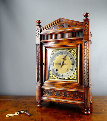 Antique Bracket Mantel Clock by Winterhalder & Hofmeier W&H Quarter Strike 8 Day