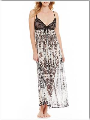 NWT $62 In Bloom by Jonquil Ballet Nightgown SMALL Ivory/Black Floral Charmeuse