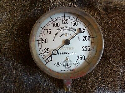"""Antique/vintage/brass 4 7/8"""" 1942 fire protection water gauge"""