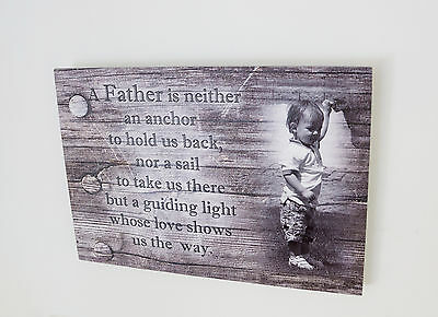 Wooden plaque picture custom personalised gift Fathers Birthday wood shabby chic