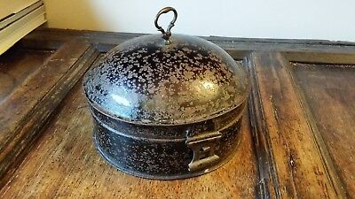 1800's Antique Georgian / Victorian Metal Spice Box Container  Japanned Toleware