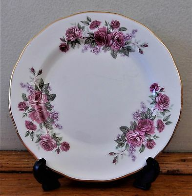 QUEEN ANNE Bone China CAKE Sandwich or Side PLATE Red/Pink ROSES