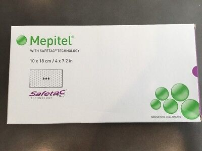 """Molnlycke Mepitel Wound Contact Layer 4x7.2""""Ref 291099 Exp 2018-11 Later 10pcs"""