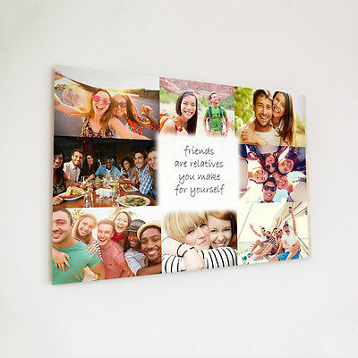 Colour Wooden plaque A4 Printed Custom Gift For Friends Wood Shabby Chic Collage