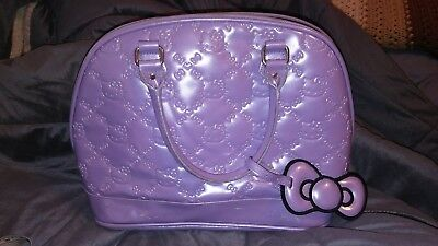 Hello Kitty Loungefly Purse purple Faux Patent Leather Carry On bag sanrio 2012