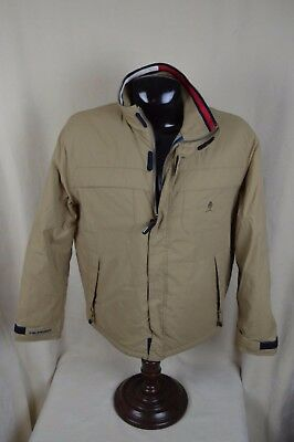 Tommy Hilfiger Large L Tan Field Jacket Coat Quilted Lining Hunting Camping