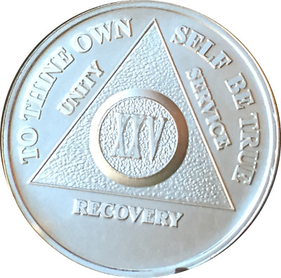25 Year .999 Fine Silver AA Alcoholics Anonymous Medallion Chip Coin XXV