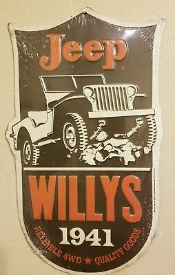 JEEP WILLY's 1941 Vintage 4WD METAL SIGN Embossed Garage Shop Decor Wall Art