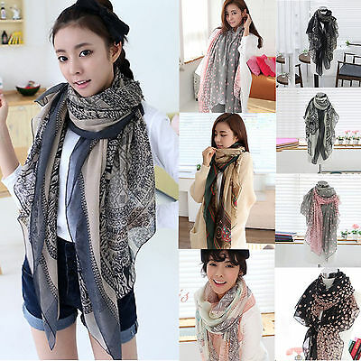 Fashion Lady Women Long Soft Wrap Shawl Large Stole Chiffon Neck Scarf Scarves