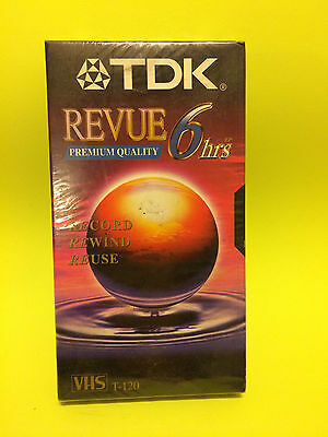 TDK Revue T-120 Blank VHS Tape Premium Quality 6 Hours Record Rewind Reuse