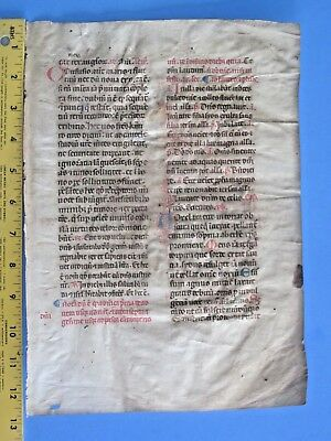 Large early medieval Breviary leaf on Vellum,deco.initials in Red/Blue,ca.1300