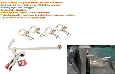 """14"""" Cr-V Open Cap. Slid Arm Table Bench Mount F Clamps +4pc 6"""" C Welding Locking"""