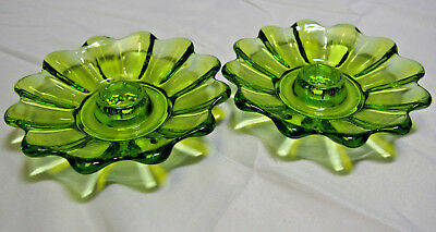 Pair of Pretty Green Glass Candle Holders / Candlesticks in Flower Design