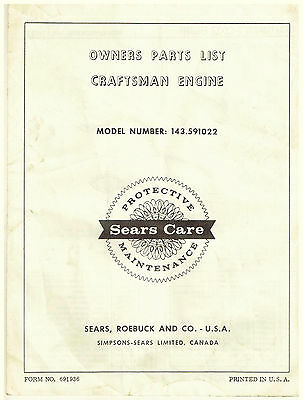 Vintage Owners Part List for CRAFTSMAN  4-CYCLE ENGINE 143.591022
