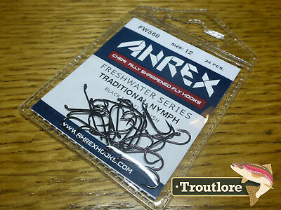 24 x AHREX FW560 #12 FRESHWATER TRADITIONAL NYMPH HOOKS NEW FLY TYING SUPPLIES
