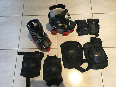 """Kids """"Starfire 300"""" adjuistable Roller Skates with elbow, knee and wrist pads"""