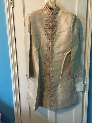 Men's Gold And Cream Sherwani, Size 42