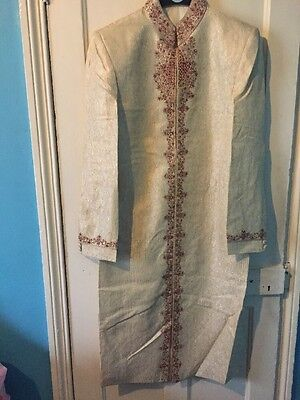 Men's Gold And Cream Wedding Sherwani, Size 38