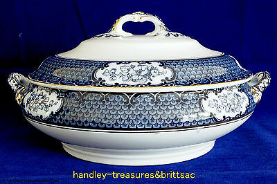 Vintage Keeling & Co. Ltd Losol Ware Cranford Lidded Vegetable Dish Blue & White