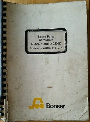 Bonser D2000K D2500K Forklift Parts Catalogue