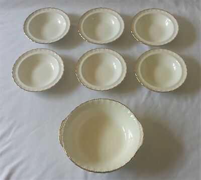 Stunning Set Of 6 Vintage Grindley Creampetal Dessert Bowls With Serving Dish