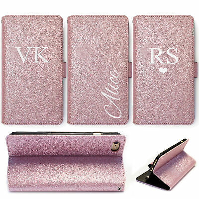 Initial Phone Case Personalised Rose Pink Glitter Leather Wallet Flip Cover
