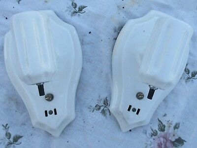 Vintage Sconces pair WHITE porcelain wall lights Bath Kitchen Bedroom