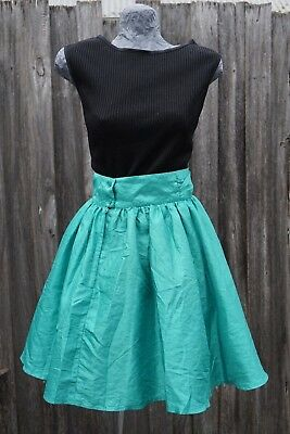 Genuine Vintage 70s green skirt formal style circle - Size 8