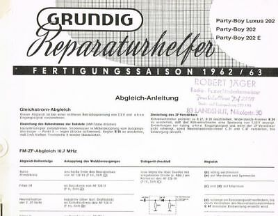 Grundig Party-Boy 202 E Party-Boy Luxus 202 Kofferradio Schaltplan original 1962