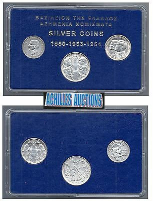 Greece. 20 & 30 Drachmai 1960-1964 XF-AU, Greek Kings 1863-1973, 3 Silver Coins
