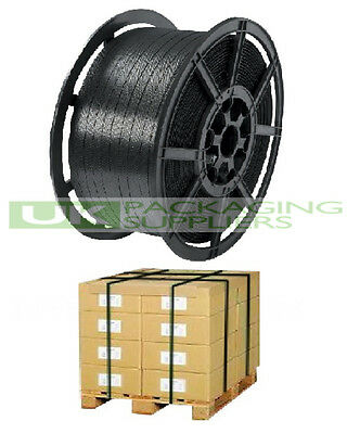 2 x HAND PALLET STRAPPING BANDING COILS PLASTIC POLYPROP 12mm x 2000 METRE 150kg