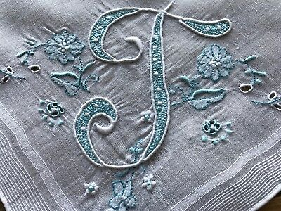 Vintage White Hankie Madeira Style Hand Embroidered Aqua Blue Monogram T Wedding
