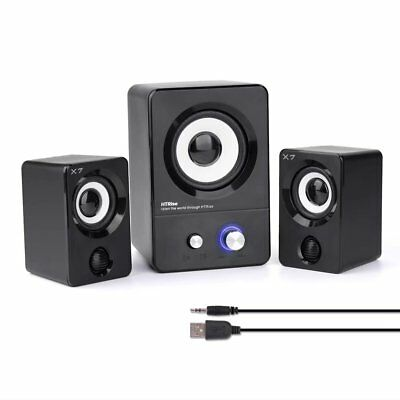 USB Computer Speakers System 2.1 Black Multimedia Stereo Subwoofer Laptop Dell