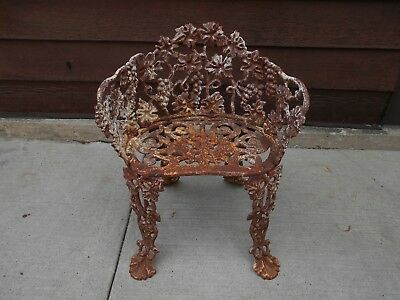 Vintage Floral Cast Iron Garden Patio Chair in Original Condition Very Well Made