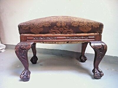 Vintage Mahogany Chippendale Otoman Ball & Claw footed Stool, 1910s stool