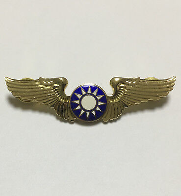 Chinese Old Style Kmt Kuomintang Wings Gold Metal Insignia Badge -1200