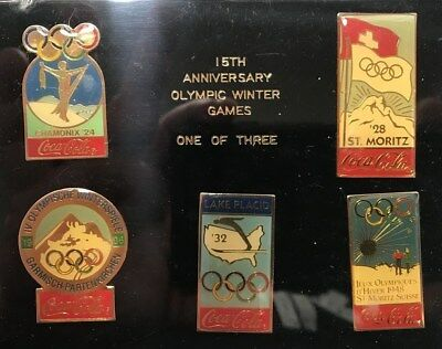1988 15th ANNIVERSARY OLYMPIC WINTER GAMES (1924-1948) PIN SET Coca-Cola