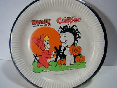"Vintage 9"" Paper Plate Casper Wendy Halloween 60s Party Sealed Reeds RARE"