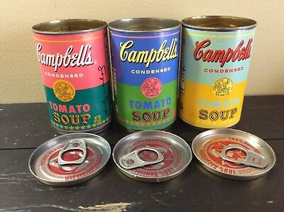 Set of 3 Andy Warhol Tomato Soup Cans 2012 Target Lids Professionally Removed