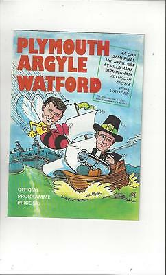 Plymouth Argyle v Watford FA Cup Semi Final 1984 Football Programme @ Villa