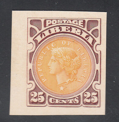 Liberia # 107 MINT Plum & Gold Color Trial on Card Coin Money (No Gum As Always)